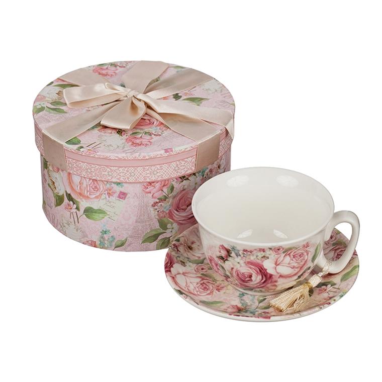 Порцеланова чаша+чинийка - Роза 11