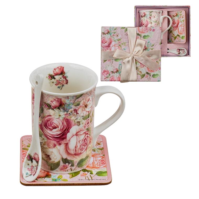 Комплект чаша за кафе+лъжичка - Роза 11